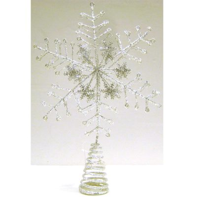 """13.5"""" Wired Glittered Snowflake Tree Topper"""