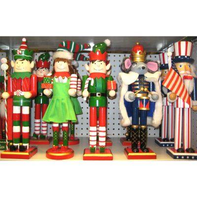 """15"""" Wooden Nutcracker - Mouse King, Elf, Uncle Sam"""