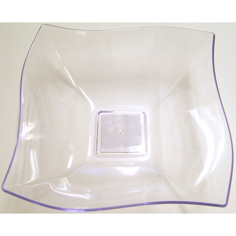 Clear Plastic Wavy Square Bowl