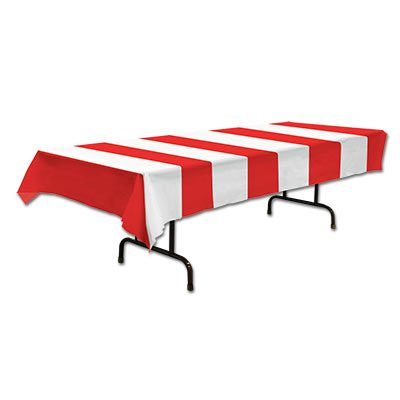 Red and White Stripes Tablecover
