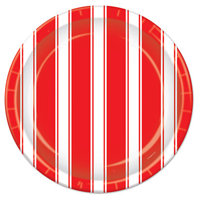 Red and White Stripes Plates
