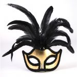 Gold Braided Trim Half Mask with Feathers