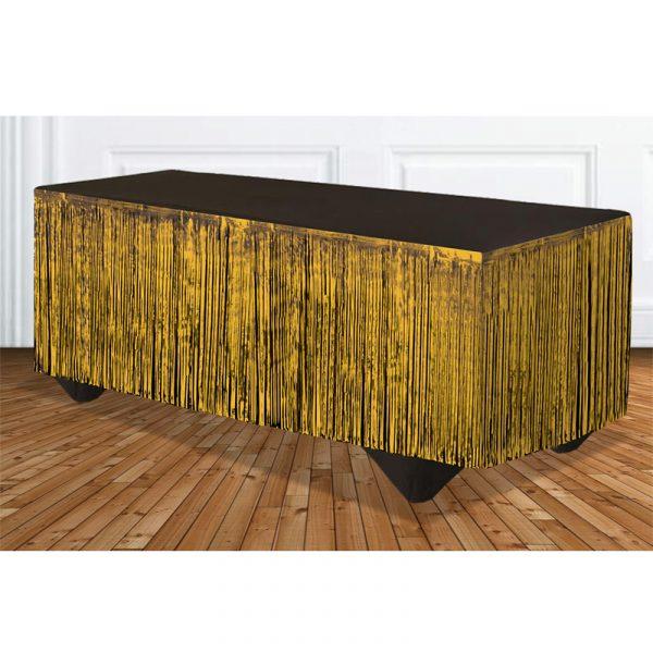 Gold Tinsel Metallic Vinyl Tableskirt