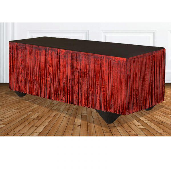 Red Tinsel Metallic Vinyl Tableskirt