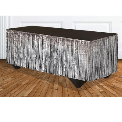 Silver Tinsel Metallic Vinyl Tableskirt