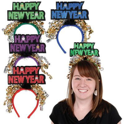 Glittered New Year's Eve Headbands