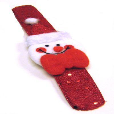 Fabric Covered Christmas Slap Bracelet - Santa Design