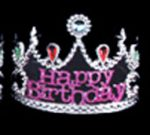 Plated Plastic Happy Birthday Tiara with Stones