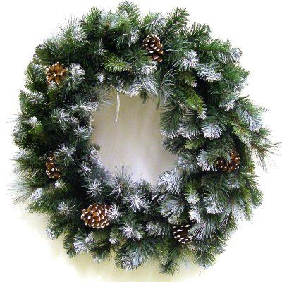 24 Inch Mixed Glacier Pine Wreath with Pine Cones