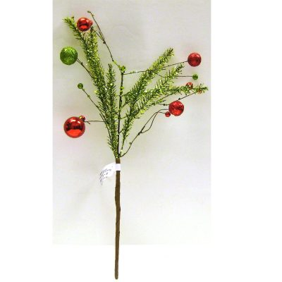 Hand Wrapped Tinsel Pine Pick with Ornaments