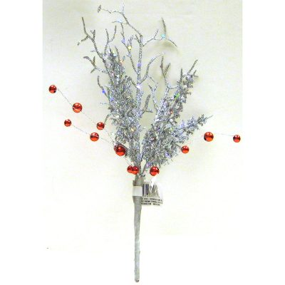 Hand Wrapped Glittered Silver Pine Twig with Red Berries