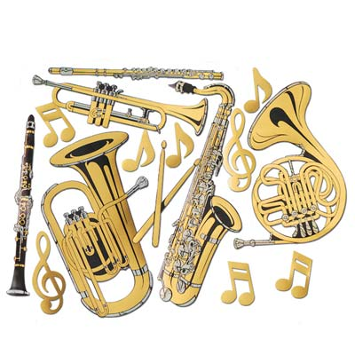 Gold Foil Musical Instruments Cutouts
