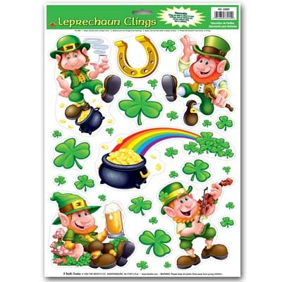 Leprechaun and Shamrock Clings
