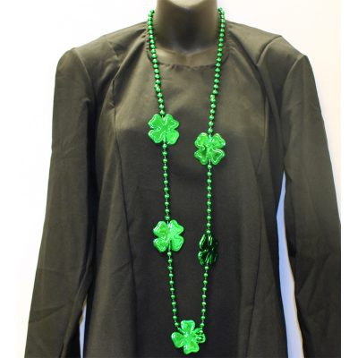 Round Metallic Green Bead Necklace with Shamrocks