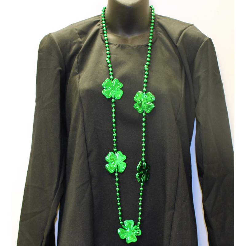 Round Metallic Green Bead Necklace with Shamrocks