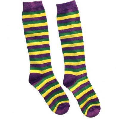 Purple, Green Yellow Mardi Gras Striped Socks