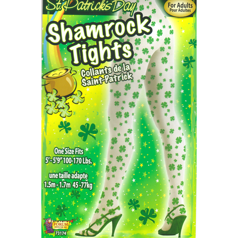 White Tights Printed with Green Shamrocks