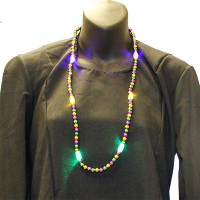 Multi-Function-Mardi Gras-Light-up Metallic Round bead Necklace