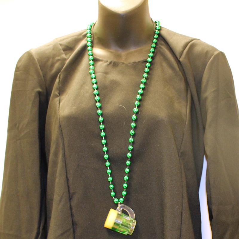 Round Metallic Bead Necklace with Green Beer Mug