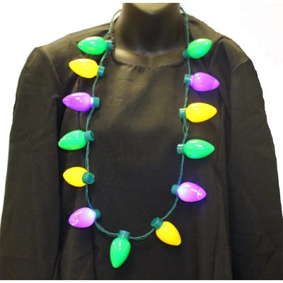 Multi Function Light up C-7 Bulb Mardi Gras Necklace