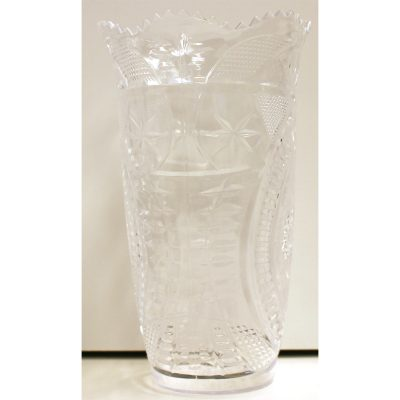 "7.5"" Crystal Cut Plastic Flower Vase"