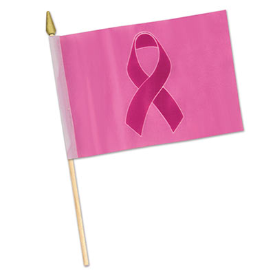 Fabric Pink Ribbon Flag - Breast Cancer Awareness