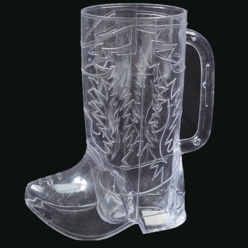 Clear Plastic Western Boot Drink Mug