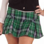 Ladies mini green plaid kilt