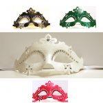 Glitter Trim Half Masks with Rhinetsones