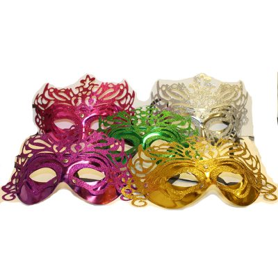 Plated Glittered Carnival Half Masks