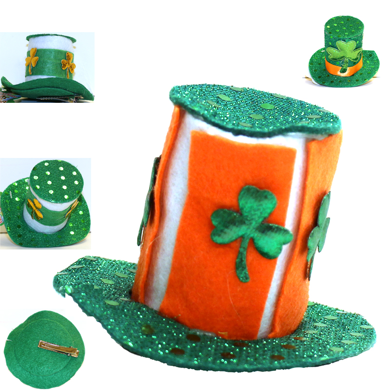 Assorted Sparkle Lucky Leprechaun Top Hat Hair Clip