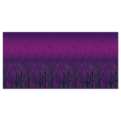 Spooky Forest Treetops Background