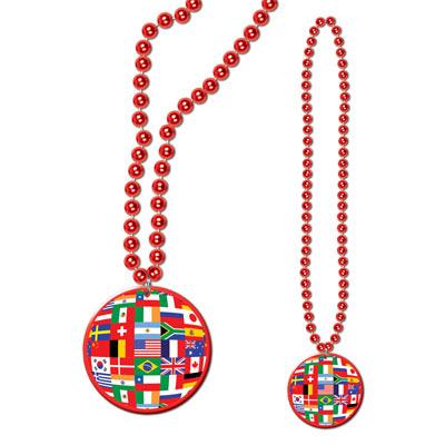 Beads with International Flag Medallion
