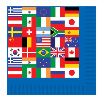 International Flag Plates and Napkins