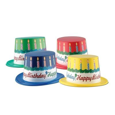 Plastic Top Hat with Happy Birthday Band