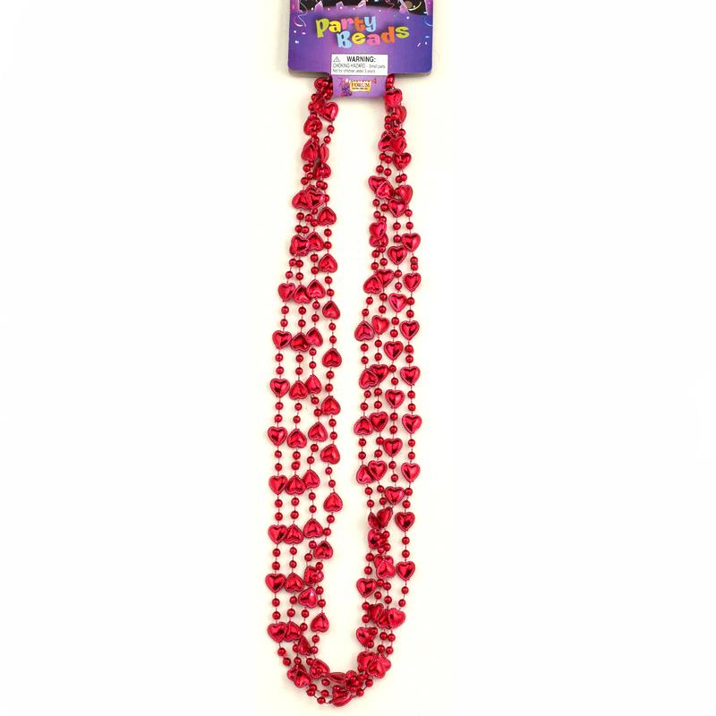 Red Metallic Mini Heart Bead Necklace