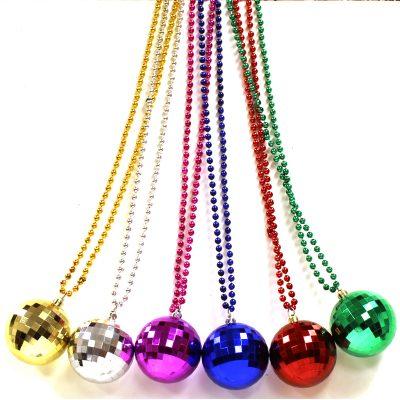 Metallic Plastic Mirror Ball Bead Necklace