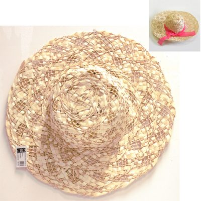 16 Inch Round Natural Openweave Straw Hat