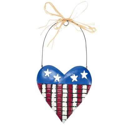 7.5 Inch Hanging Metal Patriotic Heart Plaque