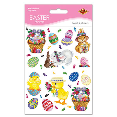 Bunny Basket and Egg Stickers
