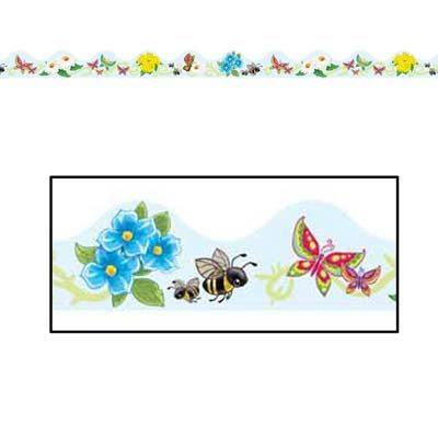 Butterflies and Flowers Border Trim
