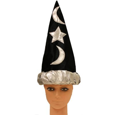 Child's Black Fabric Wizard with Silver Moon and Stars