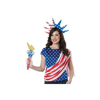 Miss Independence Red White Blue Blouse Crown and Torch