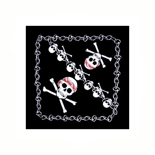 Assorted Skull Bandanas Bandanna – Skull and Crossbones with Chains