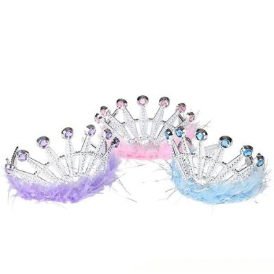 Plated Plastic Tiara with Stones and Marabou