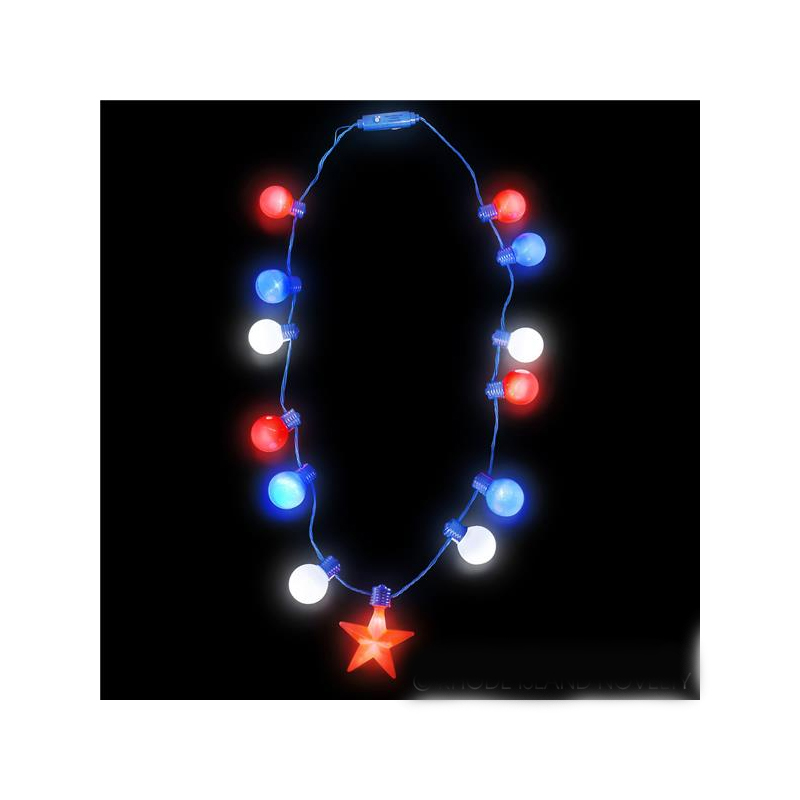 Patriotic Multi-function Light-Up Ball & Star Necklace