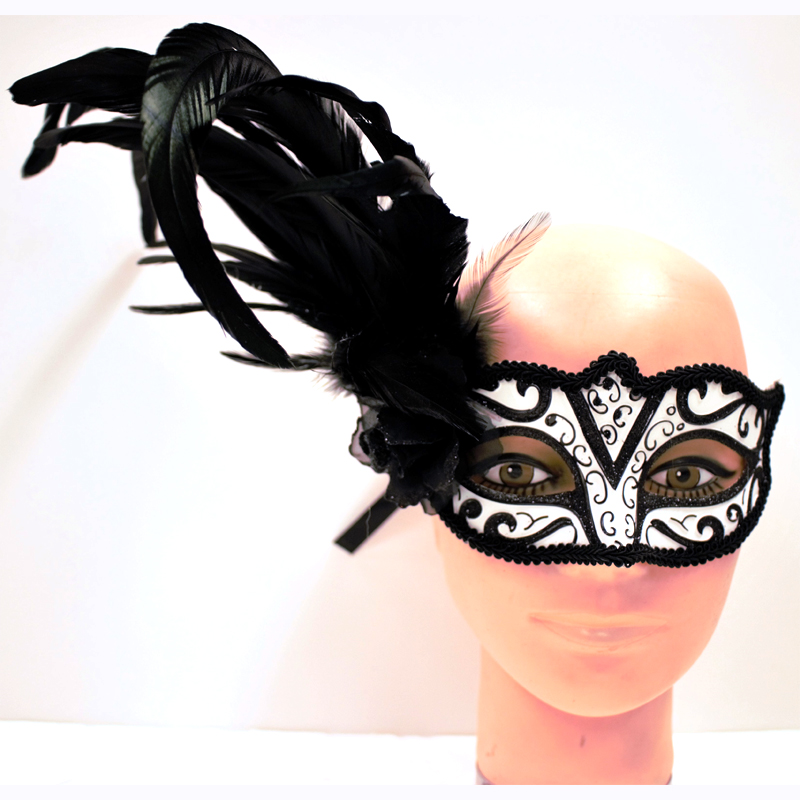 Costume Venetian Half Mask with Flower and Feathers