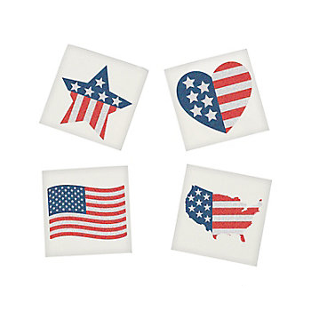 Patriotic Glitter Assorted Stars Stripes Small Temporary Tattoos