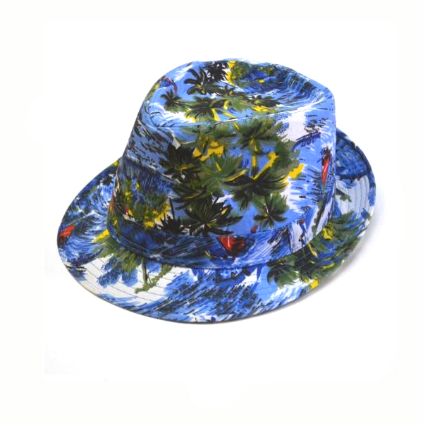 Tropical Print Polyester Fedora Hat