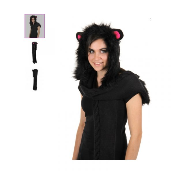 Black Cat Knitted Hood